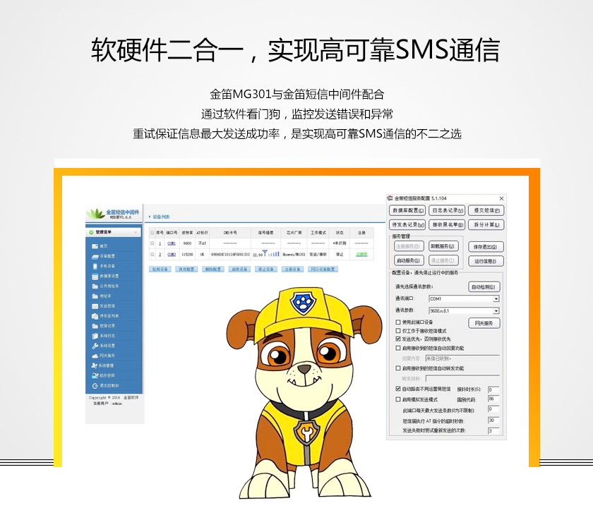 软硬二合一 实现高可靠SMS通信 金笛MG301与金笛短信中间件配合 通过软件看门狗 监控发送错误和异常 重试保证信息最大发送成功率