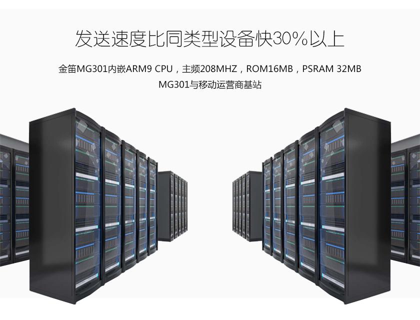 发送速度比同类型设备快30%以上 金笛MG301内嵌ARM9 CPU,主频208Mhz ROM16Mb PSRAM 32Mb MG301与移动运营商基站通信配合默契 抗干扰强