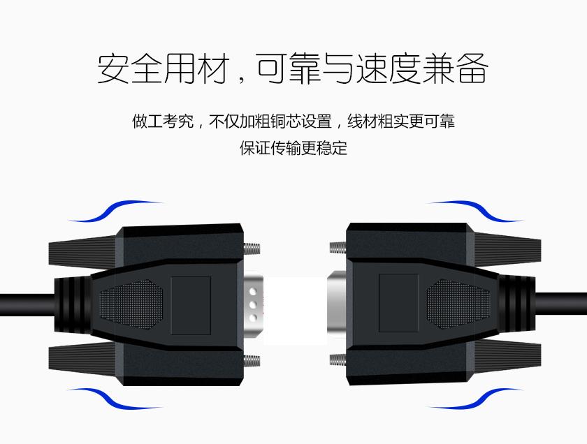 安全用材 可靠与速度兼备 做工考究 不仅加粗铜芯设置 线材粗实更可靠 保证传输更稳定
